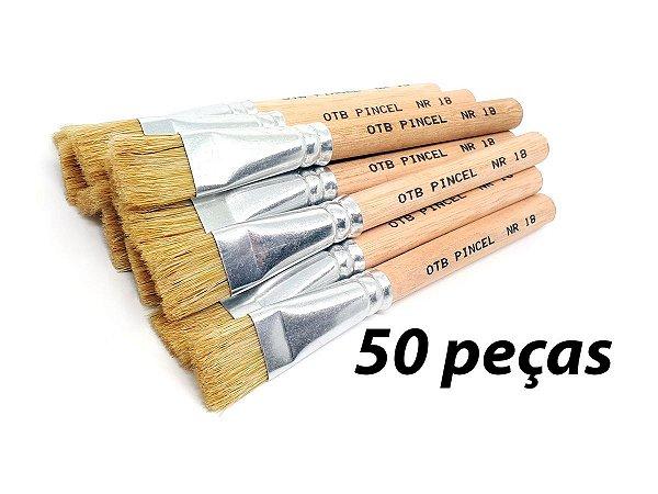 Pacote c/ 50 Pincéis Ref. 8008 nº18 Cabo Curto (OTB/TIGRE)