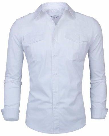 Camisa Masculina Dois Bolsos na Frente Branca