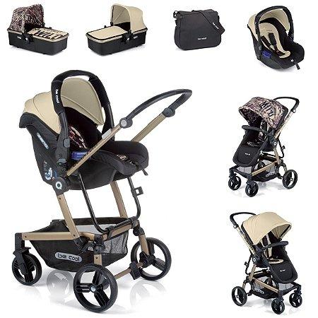 Carrinho de Bebê 3 em 1 Quantum 3 Top Be Cool Estampa Jornal e Marfim