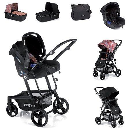 Carrinho de Bebê 3 em 1 Quantum 3 Top Be Cool Estampa Étnica e Preta