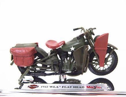 Miniatura de Moto - Haley Davidson FLAT HEAD WLA  1942- Maisto 1/18