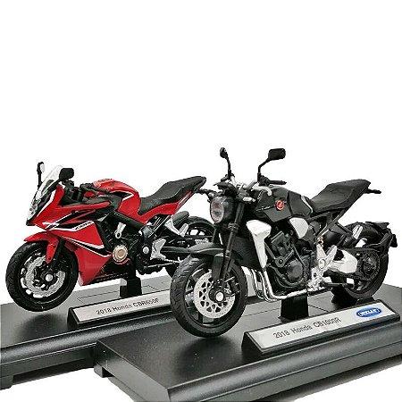 Kit Miniaturas de Motos Honda CB 1000R 2018 e Honda CBR 650F 2018 Welly 1:18