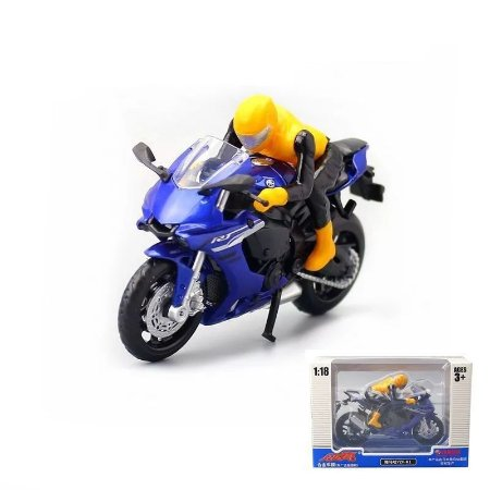 Miniatura Yamaha YZF-R1 Azul Caipo 1:18 + Piloto