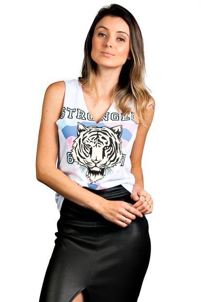 Regata Decote 'V' Tigre Branco