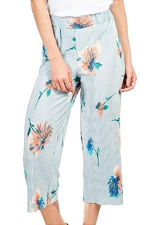 Calça Floral Plissada Azul