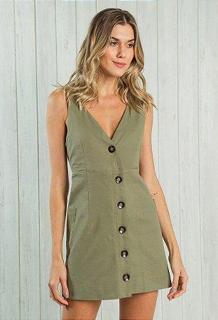 Vestido Sarja com Botões Verde Militar