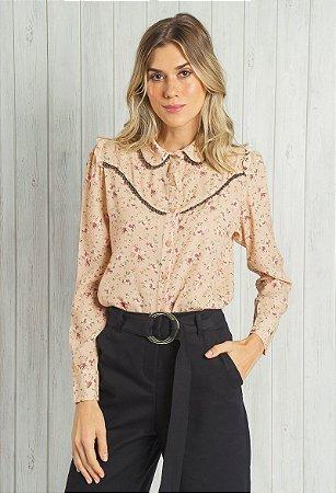 Camisa de Crepe Floral