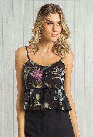 Blusa de Alça Chiffon Floral