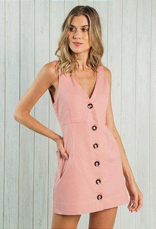 Vestido Sarja com Botões Rosê
