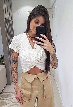 Blusa Cropped Ribana Branca