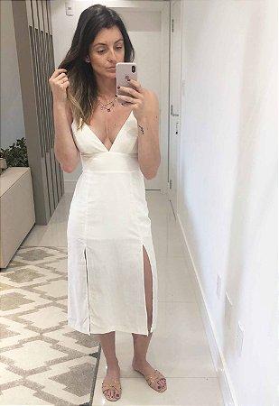 Vestido Midi Linho Fendas Off White