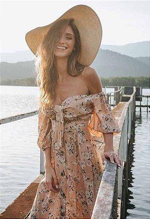 Vestido Ciganinha Midi Floral Bege