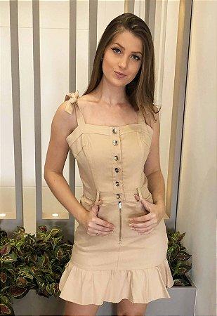 Vestido Peplum Sarja Bege
