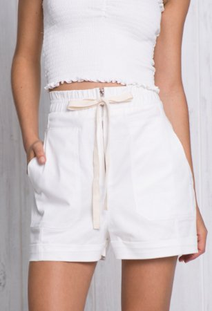 Short Sarja Cintura Alta Off-White