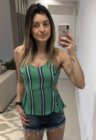 Blusa De Alça Verde Listrada