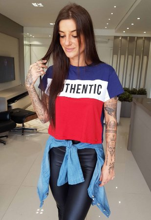 T-shirt Cropped Authentic Azul