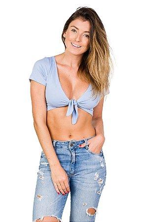 Blusa Cropped Azul Claro