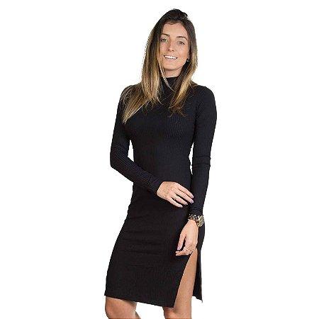 Vestido Gola Canelado Preto