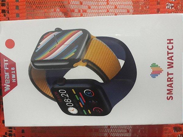 Smartwatch Hw18 40 mm 1,6 pol dois botões Chamadas Redes Fitness Monitoramento Calculadora