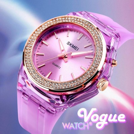 Relogio Skmei Lady Fashion Vogue Prova Agua Led Backlight Rhinestone Embutidos Transparente