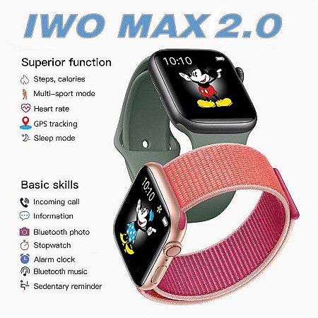 Relogio Smartwatch Iwo Max 2.0 New Relógio Fone Chamada Ligação 44mm Menu Colmeia Redes Sociais Fitness