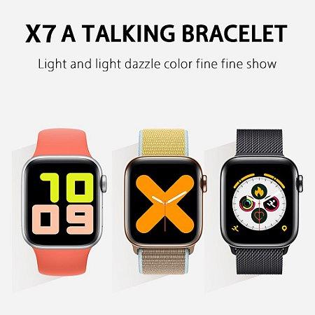 Relogio Smartwatch X7 Iwo Max 2.0 Chamada Esportes Fitness Rastreado Pressão Freqüência Redes Sociais Musica