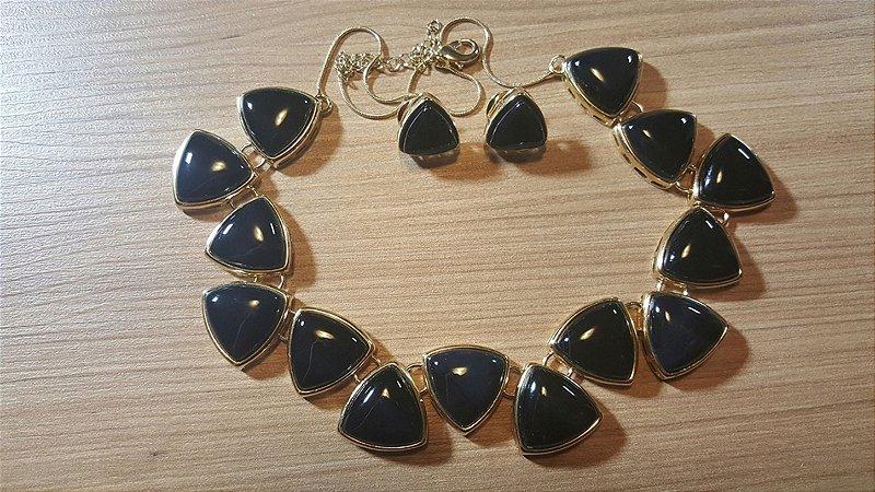 Colar e Brincos de Cristal de Ágata preto Triangular Classic