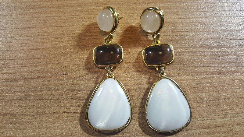 Brincos Cristal de Quartzo branco, Obsidiana Vulcânica fumê e Madrepérola 3/7,1cm Classic