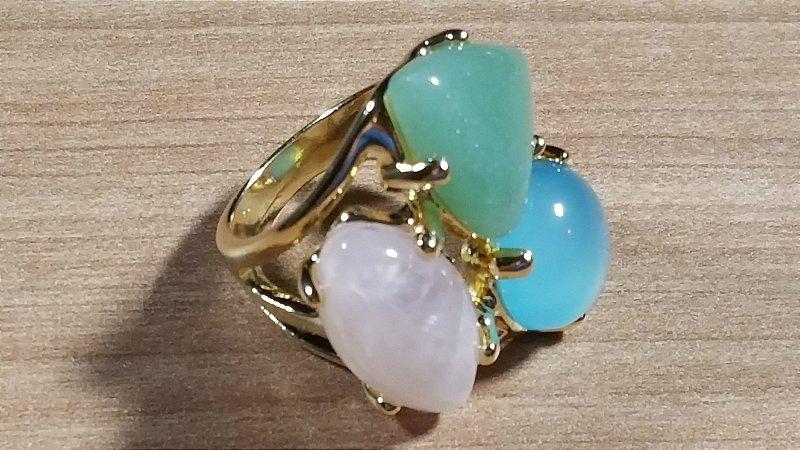 Anel  Cristal de Ágata azul céu, Cristal de Quartzo rosa e Cristal de Quartzo verde Maxi Trio Happy Days