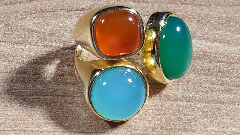 Anel Cristal de Ágata azul céu, verde e vermelho Maxi Flex Happy Days