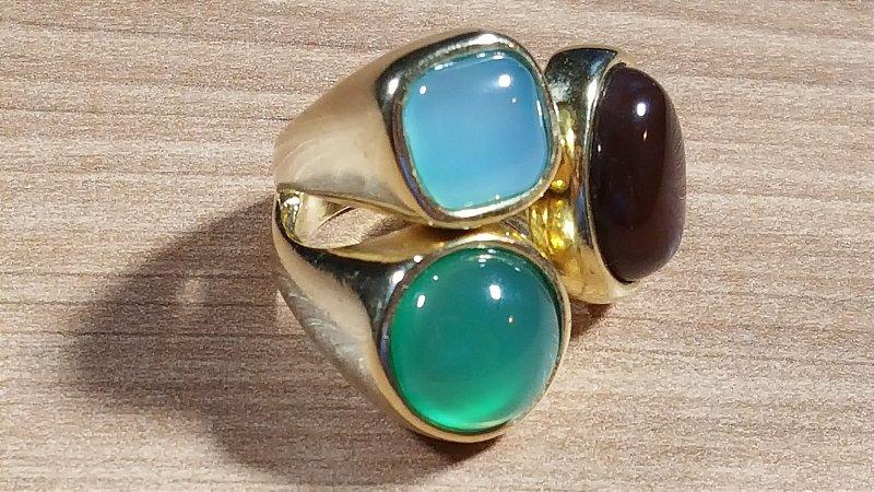 Anel Cristal de Ágata verde, azul céu e marrom Maxi Flex Amazon