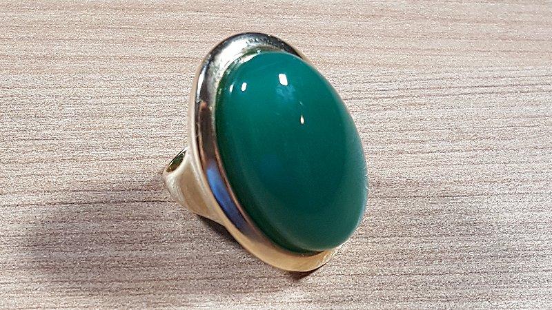 Anel Cristal de Ágata verde Oval Mega Maxi Amazon