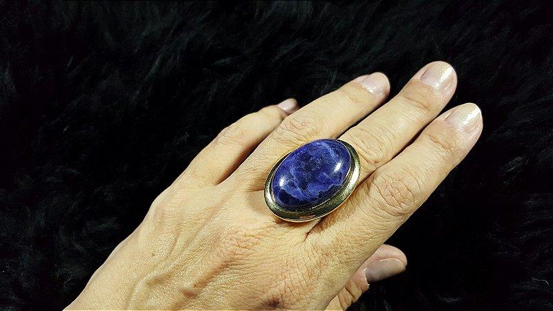 Anel Pedra Sodalita Azul do Mar Oval Mega Maxi Scandal