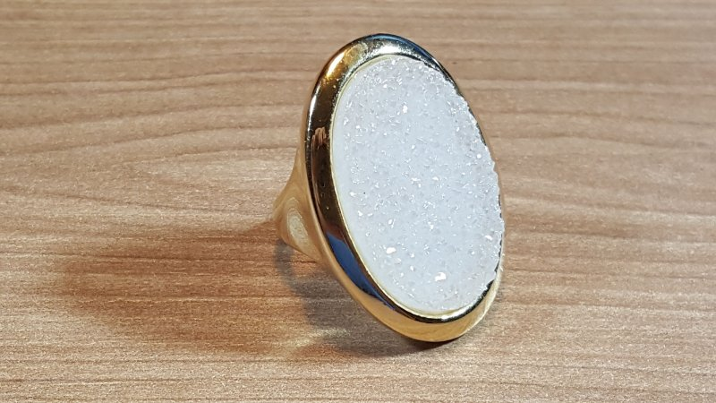 Anel Pedra Quartzo Geodo ou Drusa Mega Maxi Oval Exclusivo 1
