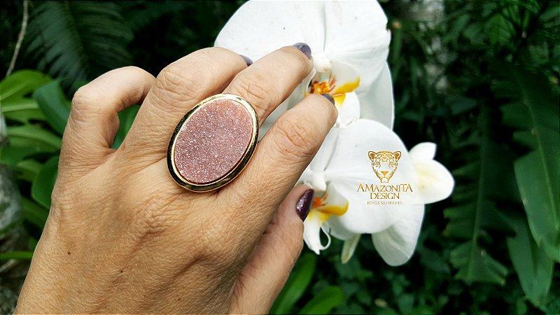 Anel Pedra Quartzo Rosa Geodo ou Drusa Mega Maxi Oval Exclusivo 5