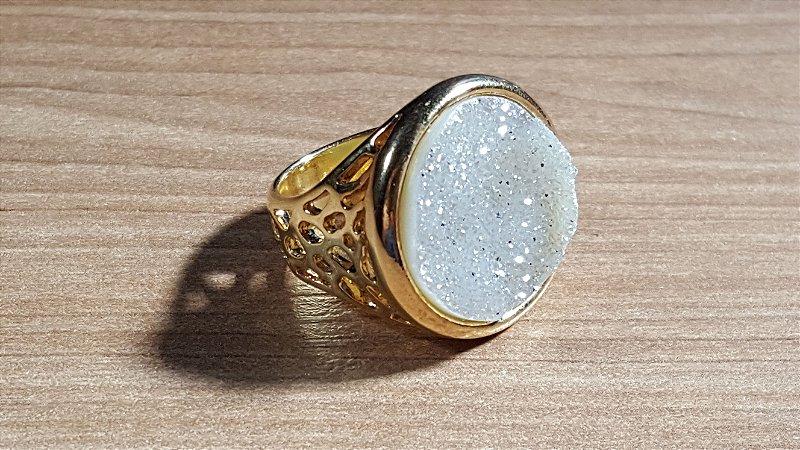 Anel Pedra Quartzo Geodo ou Drusa Maxi Circular Exclusivo 9