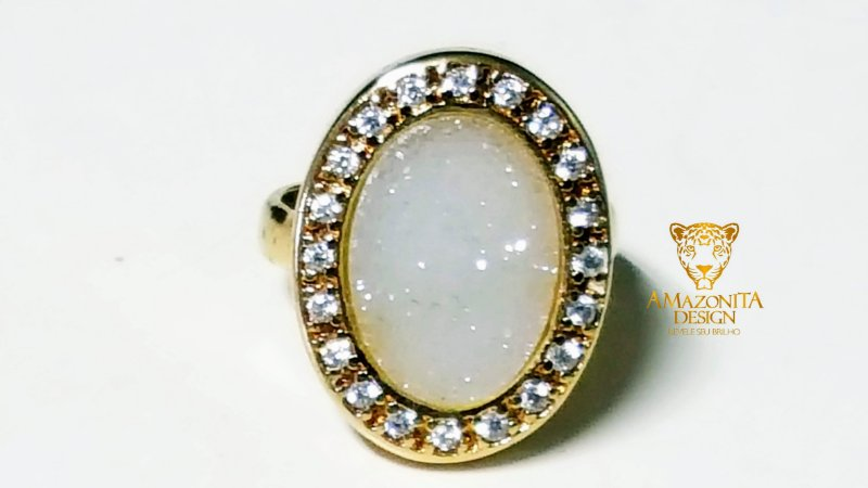 Anel Pedra Quartzo Geodo ou Drusa Oval Exclusivo 12