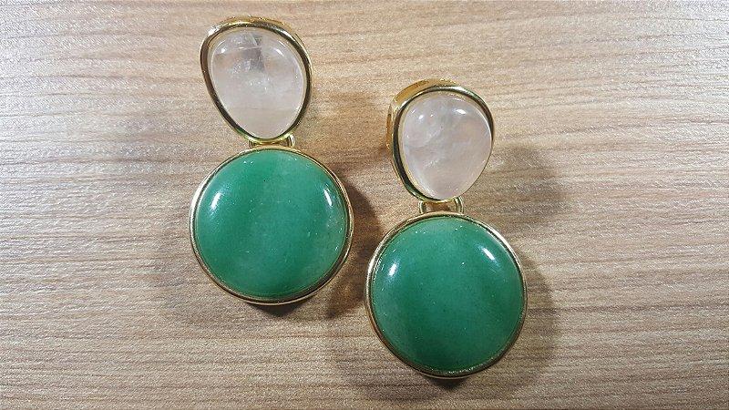 Brincos Cristal de Quartzo verde e Cristal de Quartzo 2/4,00cm Amazon