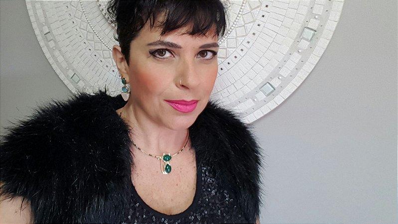 Colar Gargantilha Choker e Brincos Quartzo Rosa, Ágata Verde e Azul Céu, Conjunto Gato Amazon