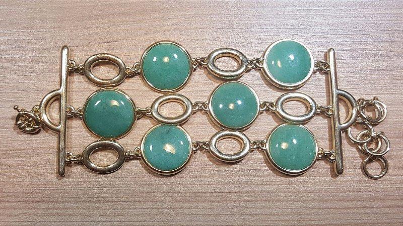 Pulseira Cristal de Quartzo verde Tripla Círculos Amazon