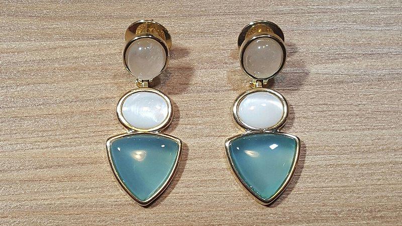 Brincos Quartzo Rosa, Madrepérola e Ágata Azul Céu 3/4,1cm Princess Blue Dreams