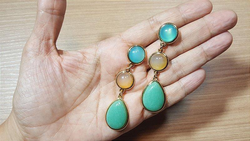 Brincos Cristal Ágata azul, mel e Cristal Quartzo verde 3/6,7cm Happy Days