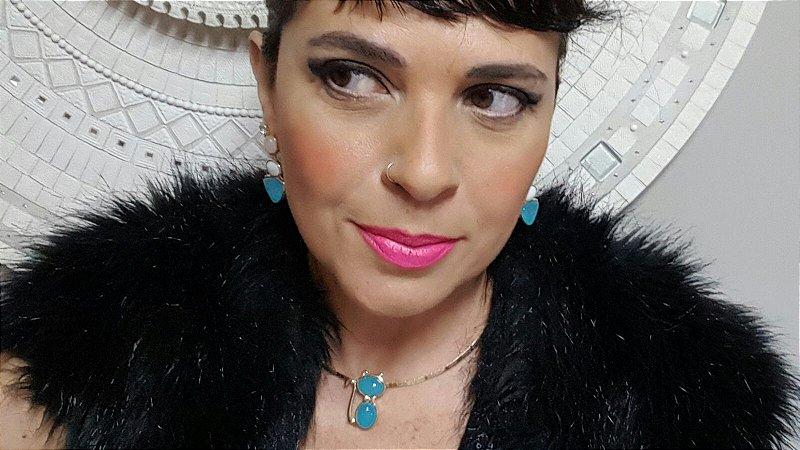 Colar Gargantilha Choker e Brincos Quartzo rosa, Madrepérola e Ágata Azul Céu, Conjunto Gato Blue Dreams