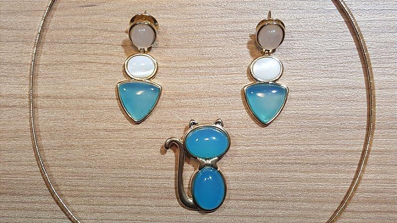 Conjunto Joias Colar Gargantilha Choker e Brincos Pedra Quartzo rosa, Madrepérola e Ágata Azul Céu, Conjunto Gato Blue Dreams
