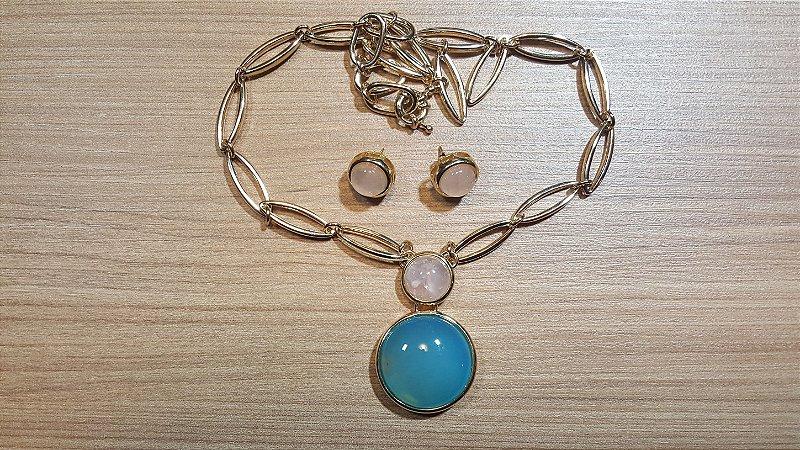 Colar e Brincos Cristal Ágata azul e Quartzo rosa Medalhão Happy Days