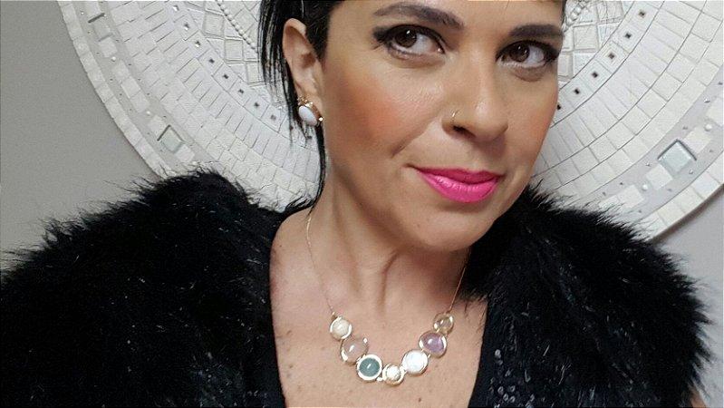 Colar Gargantilha Choker Ametista, Amazonita Bege, Quartzo Rosa, Ágata Azul Céu e Madrepérola 2 Happy Days