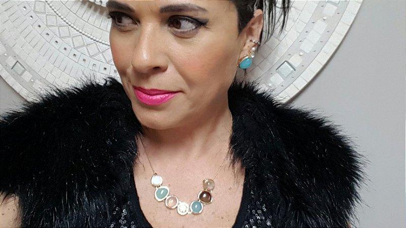 Colar Gargantilha Choker e Brincos Quartzo Rosa, Quartzo Verde, Obsidiana, Ágata Azul Céu, Madrepérola 4 Happy Days