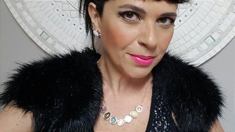 Colar Gargantilha Choker e Brincos Amazonita Bege, Quartzo Rosa, Ametista, Obsidiana, Ágata Azul Céu, Madrepérola 7 Happy Days
