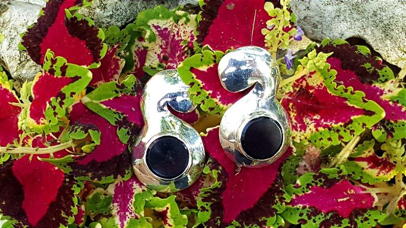 Brincos Prata 950 e Cristal Ametista Magnata Espiral