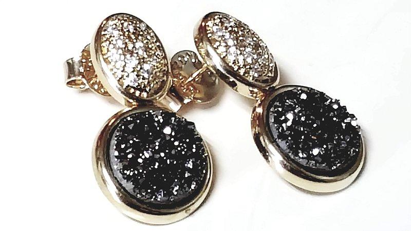 Brincos Cristal de Geodo de Rocha de Quartzo Titânio Círculo e Zircônias